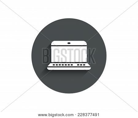 Laptop Computer Icon. Notebook Sign. Portable Personal Computer Symbol. Circle Flat Button With Shad