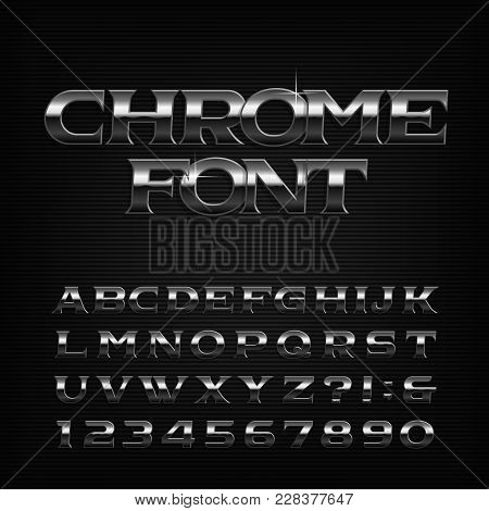 Chrome Effect Alphabet Font. Metal Oblique Letters, Numbers And Symbols. Stock Vector Typeface For Y