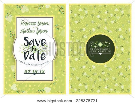 Save The Date. Wedding Invitation Double-sided Card Design Template With Cute Floral Background. Sta