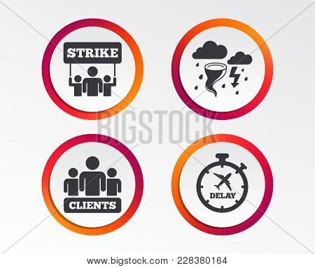 Strike Icon. Storm Bad Weather And Group Of People Signs. Delayed Flight Symbol. Infographic Design