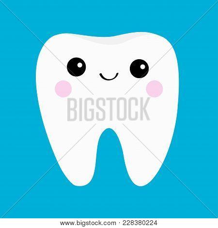 Healthy Tooth Icon. Smiling Head Face. Oral Dental Hygiene. Children Teeth Care. Cute Cartoon Charac