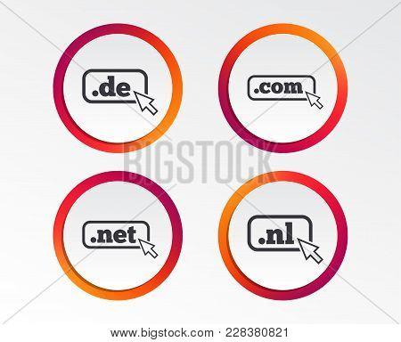 Top-level Internet Domain Icons. De, Com, Net And Nl Symbols With Cursor Pointer. Unique National Dn