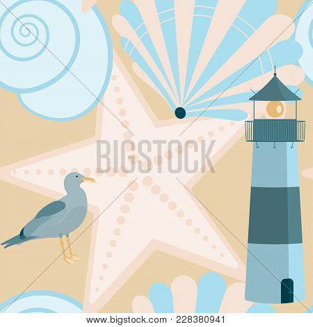 Pattern Background. Seamless Pattern Of North Sea With Shells, Sea Gull And Lighthouse In Trendy Pas