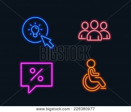 Neon Lights. Set Of Discount Message, Energy And Group Icons. Disabled Sign. Special Offer, Turn On