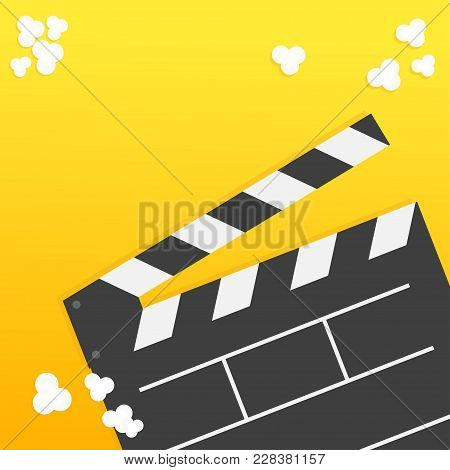 Popcorn. Open Clapper Board From Top Down Perspective. Air View. Movie Cinema Icon Set In Flat Desig