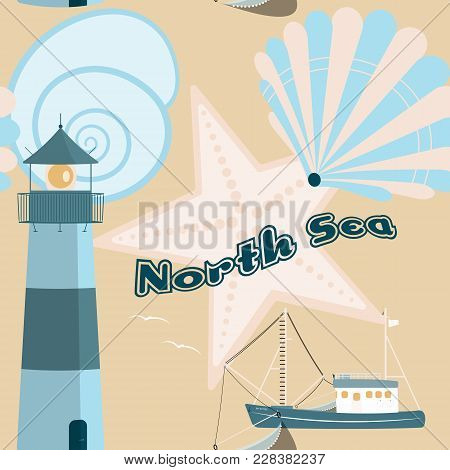 Pattern Background. Seamless Pattern Of North Sea With Shells, Fisher Boat And Lighthouse In Trendy