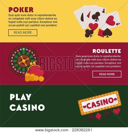 Casino Poker Game Web Banners For Online Internet Gambling Bets Advertising. Vector Design Of Casino