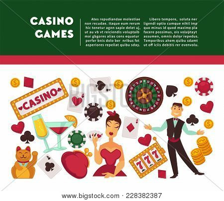Casino Games Promotional Internet Banner With Sample Text. Play Cards, Roulette Wheel, Woman In Dres