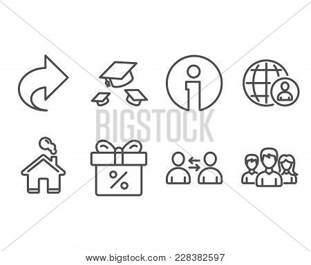 Set Of International Recruitment, Throw Hats And Discount Offer Icons. Communication, Share And Team