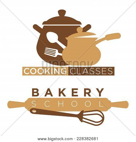Cooking School And Bakery Chef Workshop Masterclass Logo Templates Kitchenware Utensils. Vector Isol