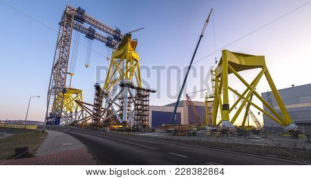Szczecin,poland-february 2017:factory Producing Foundations For Offshore Wind Farms