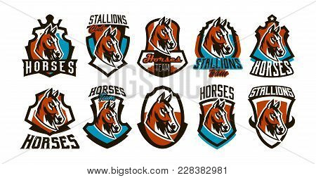 Collection Of Colorful Logos, Stickers, Emblems Of A Horse. Beautiful Stallion, Horse Racing, Fast A