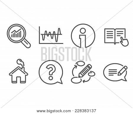 Set Of Question Mark, Stock Analysis And Data Analysis Icons. Read Instruction, Keywords And Message