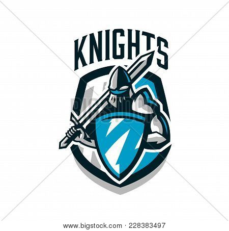Colorful Logo, Sticker, Emblem Of The Knight In Iron Armor. Knight Of The Middle Ages, Shield, Warri