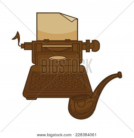 Vintage Retro Typewriter And Poetry Writer Smoking Pipe. Vector Isolated Icon For Bookstore, Booksho