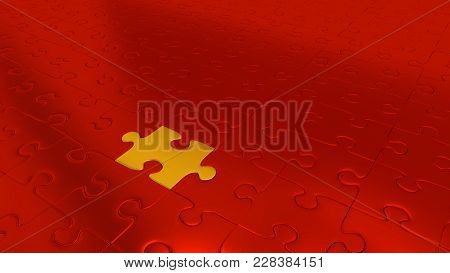 3d Illustration Of Only One Gold Puzzle Piece Inside All Other Red Pieces
