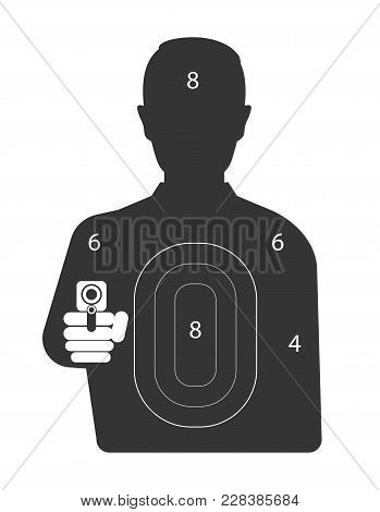 Target With Murderer Black Silhouette That Holds Weapon. Criminal With Gun And Scores All Over Body