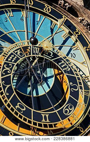 Detail Of The Prague Astronomical Clock , Orloj, In The Old Town Of Prague