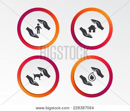 Hands Insurance Icons. Shelter For Pets Dogs Symbol. Save Water Drop Symbol. House Property Insuranc
