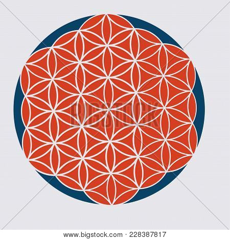 Vector Sacred Geometry Illustration: Variant Of The Flower Of Life, Also Known The Pattern Of Creati