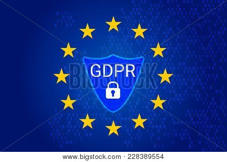 Gdpr - General Data Protection Regulation. Eu Map And Flag, Shield. Vector Illustration