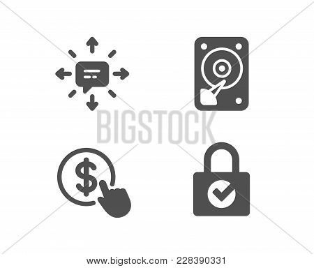 Set Of Hdd, Sms And Buy Currency Icons. Password Encryption Sign. Hard Disk, Conversation, Money Exc