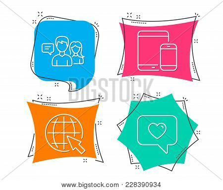 Set Of People Talking, Internet And Mobile Devices Icons. Love Message Sign. Contact Service, World