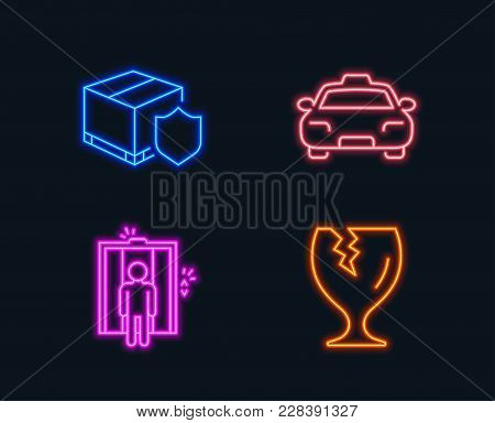 Neon Lights. Set Of Elevator, Taxi And Delivery Insurance Icons. Fragile Package Sign. Lift, Passeng