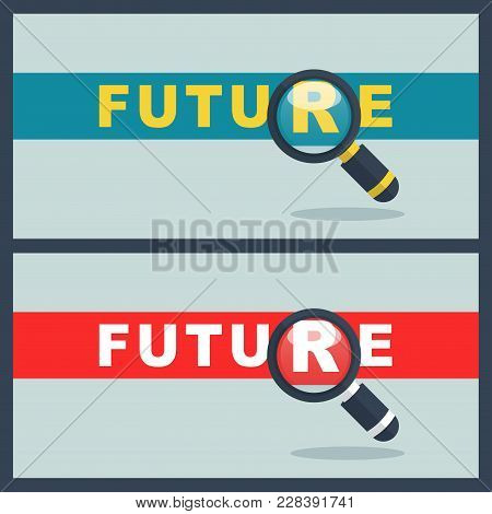Illustration Of Future Word With Magnifier Concept