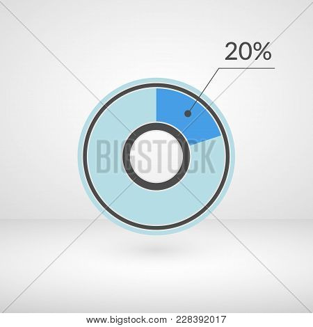 20 Percent Pie Chart Isolated Symbol. Percentage Vector Infographics. Circle Diagram Sign. Business