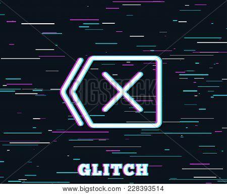 Glitch Effect. Delete Line Icon. Remove Sign. Cancel Or Close Symbol. Background With Colored Lines.