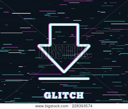 Glitch Effect. Download Line Icon. Internet Downloading Sign. Load File Symbol. Background With Colo