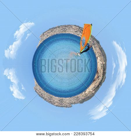 Windsurfer Enjoying A Summer Day In A Mediterranean Sea, Little Planet Effect Know Also As Stereogra