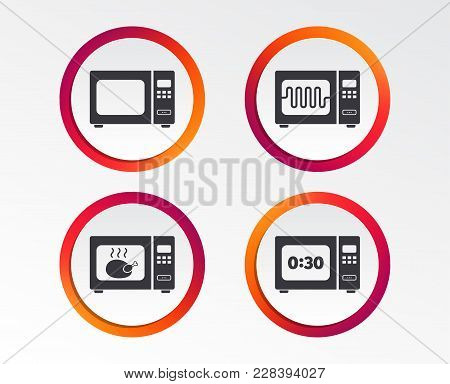 Microwave Oven Icons. Cook In Electric Stove Symbols. Grill Chicken With Timer Signs. Infographic De
