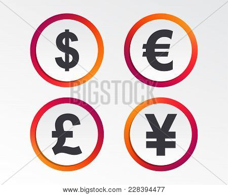 Dollar, Euro, Pound And Yen Currency Icons. Usd, Eur, Gbp And Jpy Money Sign Symbols. Infographic De