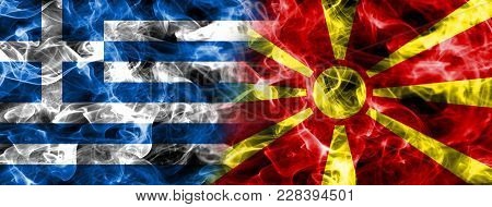 Greece And Macedonia Smoke Flag Isolated On A Black Background