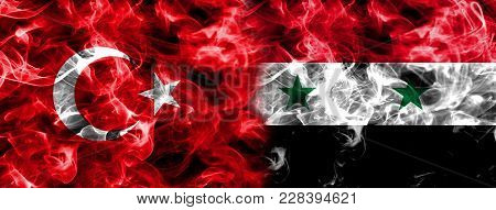 Turkey And Syria Smoke Flag Isolated On A Black Background