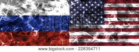United States Of America And Russia Smoke Flag Isolated On A Black Background