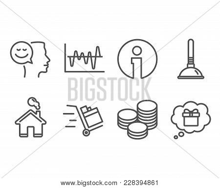 Set Of Tips, Plunger And Good Mood Icons. Push Cart, Stock Analysis And Gift Dream Signs. Cash Coins