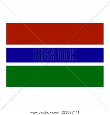 Flag Of Gambia. White Background. Vector Illustration