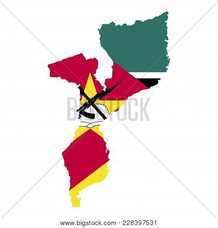 Territory And Flag Of Mozambique. White Background