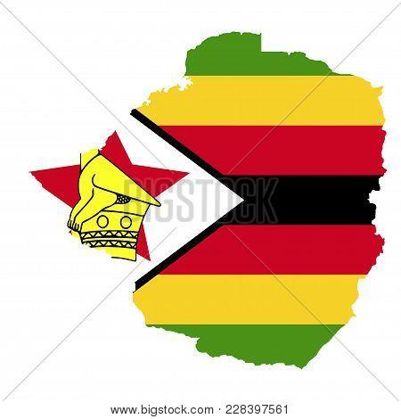 Territory And Flag Of Zimbabwe. White Background