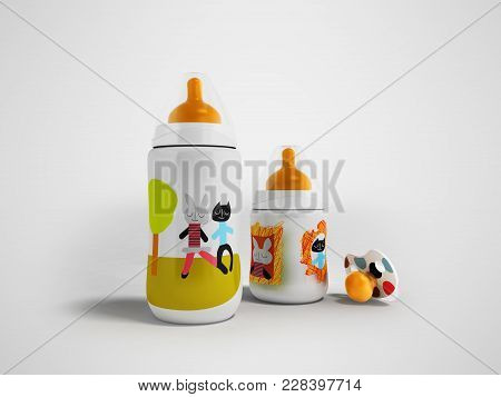 A Set Of Bottles And A Pacifier For A Child 3d Render On A Gray Fonet With A Shadow