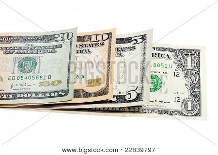 four banknotes of dollars