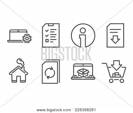 Set Of Interview, Online Delivery And Notebook Service Icons. Update Document, Download File And Sho
