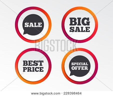 Sale Icons. Special Offer Speech Bubbles Symbols. Big Sale And Best Price Shopping Signs. Infographi