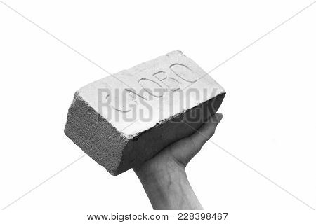 Brick Or Stone Bar In Hand With Stamp Word. The Word Has Weight Or Keep Your Word Or Keep Your Promi