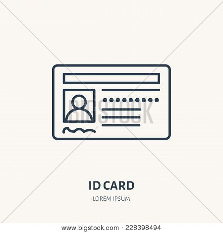 Documents, Identity Vector Flat Line Icon. Id Card, Drivers License Sign.