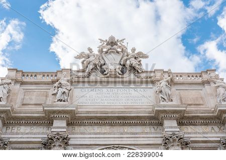 Detail Of Statue In The Fontana Di Trevi Or Trevi Fountain. The Fountain In Rome, Italy. It Is The L