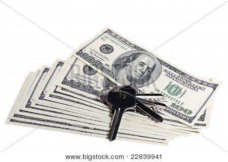 dollar bills and keys